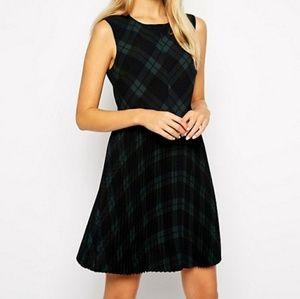 💜ASOS Skater Dress with Pleated Skirt PlaidSz 0